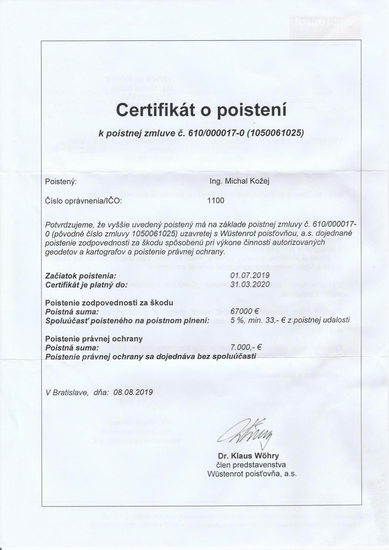 Certifikát o poistení